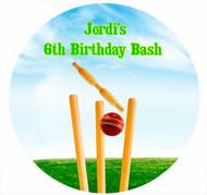 Sports Cricket Personalised Birthday Cake Icing Sheet - Edible Image.