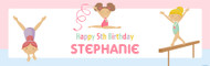 Girls Gymnastics Birthday Party Banner.