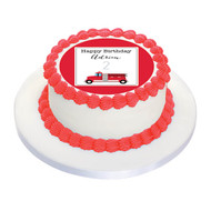 Red Fire Truck Engine Personalised Birthday Cake Icing.