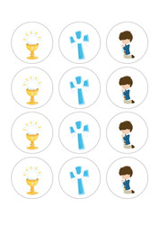 Boys First Holy Communion Cupcake Toppers
