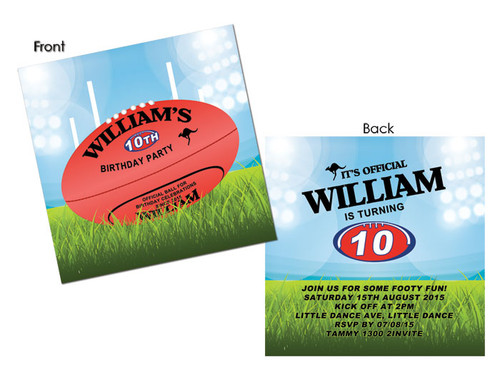 Kids Birthday Invitations - AFL Football Party