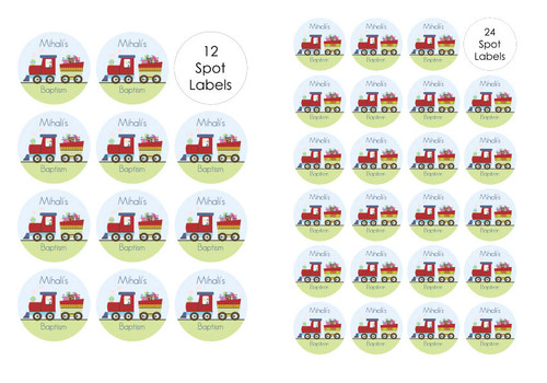 Train stickers and labels for Christening and Baptisms.