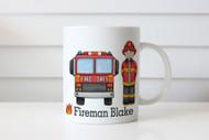 Personalised Fireman Firetruck Kids Name Mug