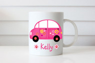Hot Pink Love Bug Custom Personalised Name Coffee Mug