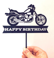 Birthday Acrylic Cake Topper - Motorbike Happy Birthday