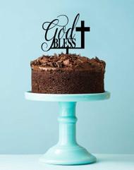 God Bless with Cross Religious Cake Topper
