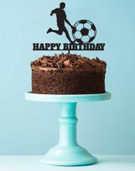 Soccer Themed Happy Birthday Cake Topper
