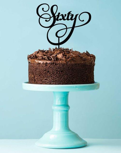 Custom 60th Birthday Cake Acrylic Topper Order online in Australia