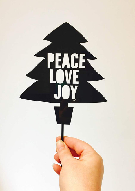 PEACE LOVE JOY Christmas Tree Cake Topper