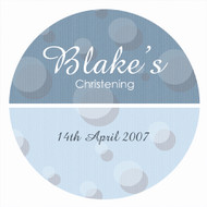Personalised baptism or christening labels - blue spots theme. Australian online shop