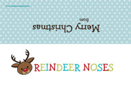 Christmas themed party gift bag toppers - Rudolph reindeer noses. Novelty Christmas greeting