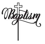 Generic Baptism with Cross Religious Cake Topper