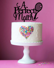 A Perfect Match Tennis Cake Topper Decoration