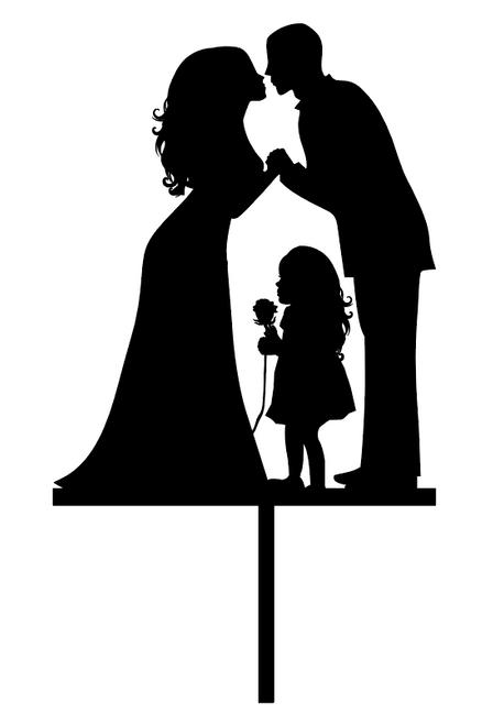 Wedding Couple and Child Acrylic Wedding Cake Topper
