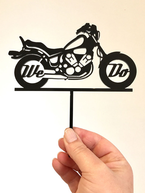 We Do motorbike wedding cake topper decoration