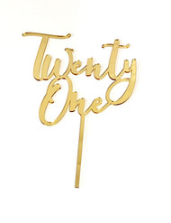 Modern Script 21, Twenty-One, Twenty First Birthday Cake Topper