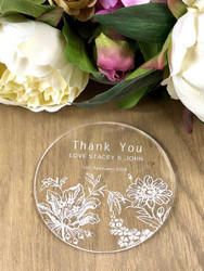 Custom floral personalised acrylic coasters wedding favours