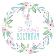 Fairy leaves round party labels