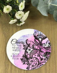 Personalised white acrylic printed wedding favour coasters