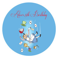 Alice in Wonderland Round party stickers