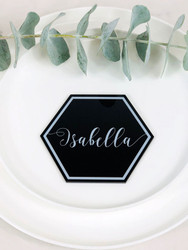 Hexagon printed acrylic table place cards