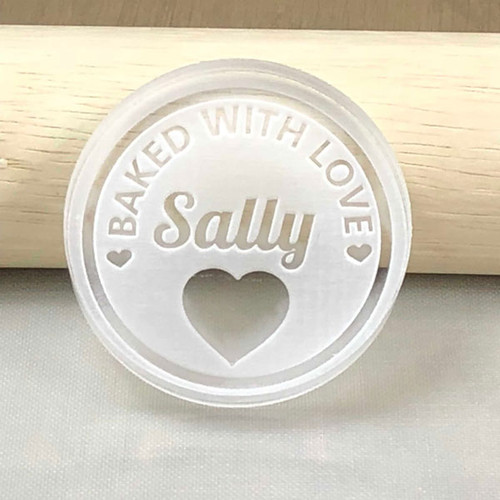 Baked with Love Custom Name Cookie stamp