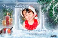 Cheeky elf grins back from this happy custom photo Christmas card