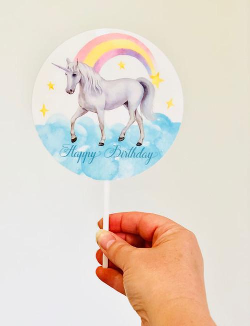 Unicorn with Rainbow printed acrylic cake topper