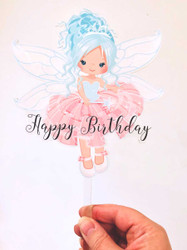 Blue Hair Fairy printed acrylic cake topper