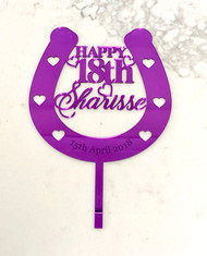Custom horse shose birthday cake topper