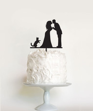 Wedding Couple and Cat cake topper