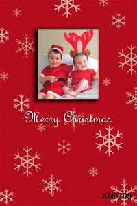 Personalised photo Christmas card. Red background, snowflakes theme.