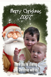 Santa Claus themed family photo Christmas cards