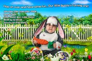 Personalised photo invitations - garden bunny costume theme