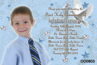 Boys Blue Dove First Holy Communion Invitations