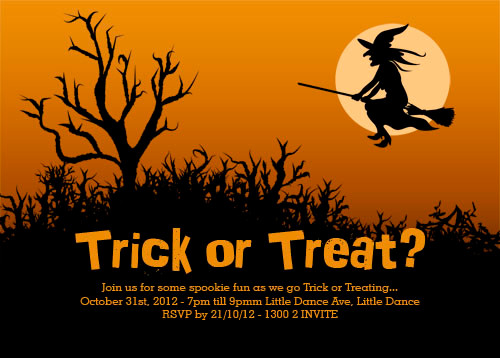 Witch themed personalised Halloween trick or treating party invitation