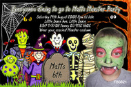 Monsters ball themed photo invitation. Ideal for Halloween or monsters themed kids birthday party.