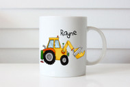 Personalised coffee mug or cup with name - construction digger theme. For sale online.