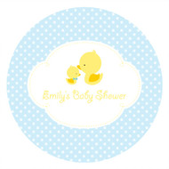 Personalized & custom baby shower party Labels & Stickers - little duck on blue background theme. For sale online in Australia