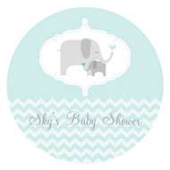 Personalized & custom baby shower party Labels & Stickers - mint baby elephant theme. For sale online in Australia