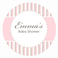 Personalized & custom baby shower party spot labels - pink stripes theme. For sale in Australia - order online