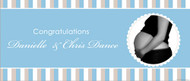 Personalized baby shower banner - Blue stripe boys theme - affordable in Australia