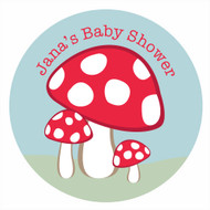 Personalized & custom baby shower party spot labels - fantasy toadstool theme. For sale in Australia - order online