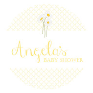 Personalized & custom baby shower party spot labels - gender neutral yellow daisies theme. For sale in Australia - order online