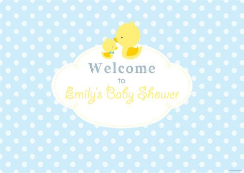 Personalized baby shower banner - little duck on blue theme - Australian banner shop