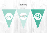 Green Baby Clothes Baby Shower Party Personalised Bunting Flag Decorations