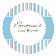 Blue Stripe Baby Shower Personalised Cake Icing