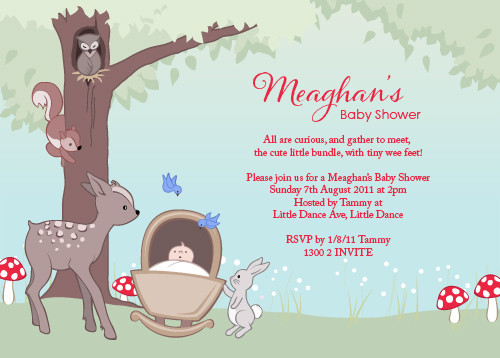 Baby shower invitation baby forest animals theme with personalised baby forest animals baby shower invitations filmwisefo