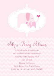 PInk Baby Elephant Baby Shower Invitations