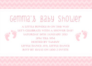 Pink Footprints Baby Shower Invitations